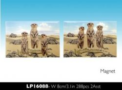 2 ASSTD MEERKAT MAGNETS TIN