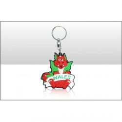 WELSH DRAGON WITH BANNER KEYRING