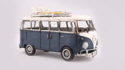 METAL ART BLUE CAMPER VAN WITH SURFBOARDS