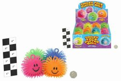 4″ SMILEY FACE PUFFER BALL WITH LIGHT IN DISPLAY BOX