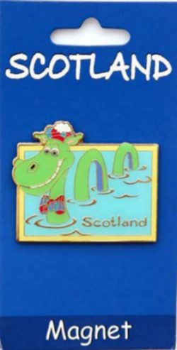 CARTOON NESSIE BRASS MAGNET