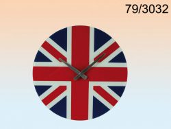 UNION JACK 40cm GLASS CLOCK