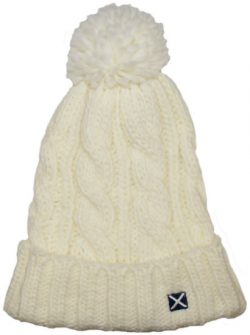 SCOT BOBBLE HAT WHITE