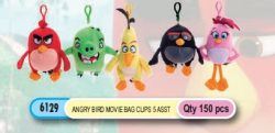 ANGRY BIRDS MOVIE PLUSH BAG CLIP 5 ASS