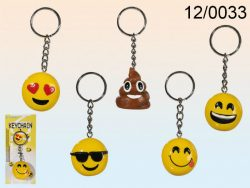 POLYRESIN EMOTICON KEY RING 5 ASSORTED