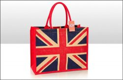 Union Jack Jute Bag with gusset