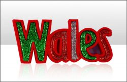 Wales Glitter Word Resin Magnet