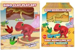 DINO MODELLING SET (2 ASSORTED) IN COLOUR BOX / PDQ