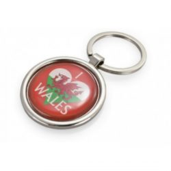 METAL CIRCLE KEYCHAIN WALES FLAG