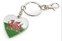 METAL KEYRING WALES FLAG HEART