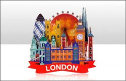 WOODEN MAGNET MODERN LONDON VIEW