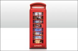 WOODEN MAGNET TELEPHONE BOX