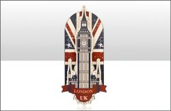 WOODEN MAGNET LONDON UK BIG BEN & UJ