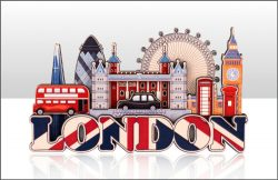 WOODEN MAGNET LONDON UJ & SKYLINE