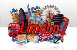 WOODEN MAGNET LONDON CARTOON MONTAGE