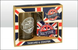 BRITISH GLASS TANKARD & COASTER SET