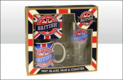 BRITISH PINT GLASS MUG & COASTER SET