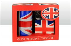 UNION JACK GLASS TANKARD & COASTER SET