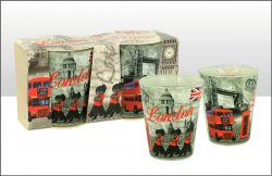 BW RED LOND MONTAGE SHOT GLASS SET OF 2