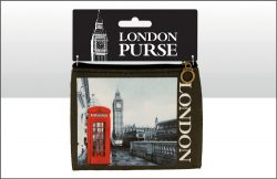 LONDON RED PHONE BOX PHOTO ZIP PURSE