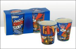 LONDON POP ART SHOT GLASS SET X2