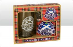 SCOTLAND GLASS TANKARD & COASTER SET