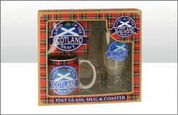 SCOTLAND PINT GLASS, MUG & COASTER SET