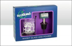 SCOTLAND GOLF WHISKEY TUMBLER & POURER SET