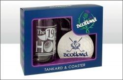 SCOTLAND GOLF TANKARD & COASTER SET