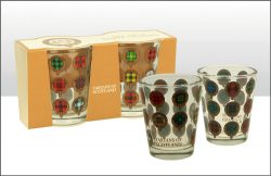 TARTANS OF SCOTLAND SHOT GLASS SET X2