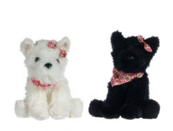 "8"" DOG WITH SCARF AND RIBBON 2 ASSORT"