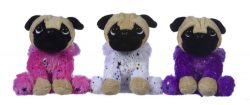 "8"" PLUSH PUG IN SPARKLE COSTUME 3 ASST"