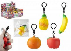 FRUIT SQUIGIES KEYCHAIN 4 ASSTD