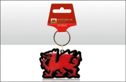 Welsh Dragon Beaded Acrylic Keyring