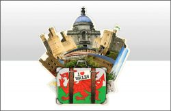 Wales Icons Suitcase Wood Magnet