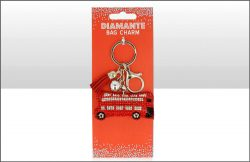 Red Bus Suedette Diamante Keyring