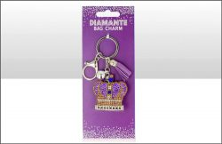 Crown Suedette Diamante Keyring