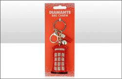 Telephone Box Suedette Diamante Keyring