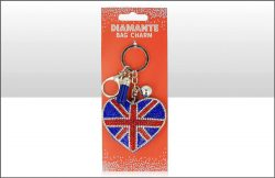 Union Jack Heart Suedette Diamante Keyring