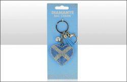 Scotland Saltire Heart Suedette Diamante Keyring