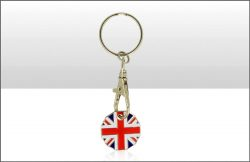 Union Jack new £1 Keyring Shopping Trolley Token