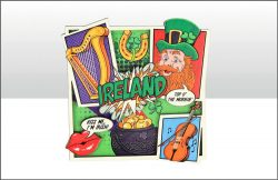 Ireland Pop Art Wood Magnet