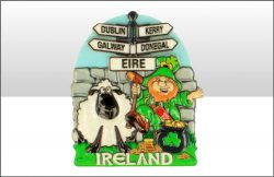 Ireland Signpost/Lep/Sheep Printed Resin Magnet