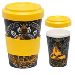 Buddha Reusable Screw Top Bamboo Travel Mug
