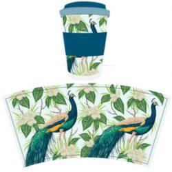 Peacock Reusable Screw Top Bamboo Travel Mug