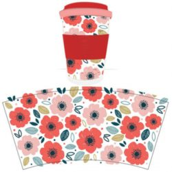 Poppy Fields Reusable Screw Top Bamboo Travel Mug