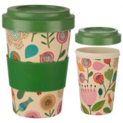 Autumn Floral Reusable Screw Top Bamboo Travel Mug