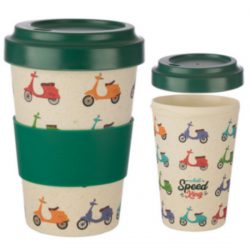 Speed King Scooter Reusable Screw Top Bamboo Travel Mug