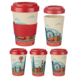 London Icons Reusable Screw Top Bamboo Travel Mug