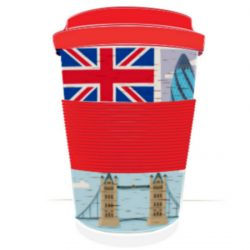 London Reusable Screw Top Bamboo Travel Mug